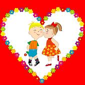 Valentine's Day card with boy and girl kissing