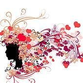 Female silhouette with floral hairstyle and Valentine's hearts