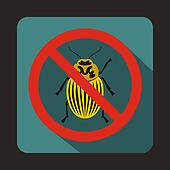 No potato beetle sign icon, flat style