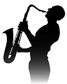 silhouette of a saxophone player