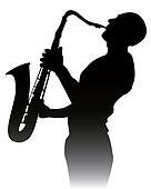 black silhouette of a saxophone pla