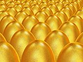 Background of the golden Easter eggs
