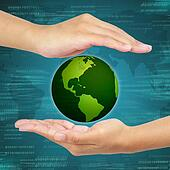 Business hand holding globe . Concept of business Information systems and networks.