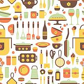 Seamless pattern of kitchen utensils.