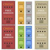 Image of various colorful cinema tickets isolated on a white background.