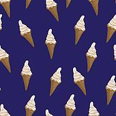 Ice cream waffle cones seamless pattern. Stylized vector illustration. Colorful melting ice-cream. Sweet dessert on dark blue background.