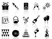 new year holiday icons set