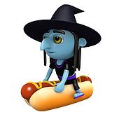 3d Witch rides a hot dog