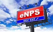 eNPS  - Red Billboard on Sky Background.