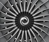 Close-up of jet fan engine