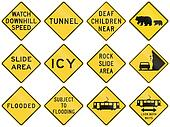 Collection of warning signs used in the USA
