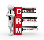 3d businessman with crm signpost illustration