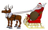 Santa Claus with reindeers and sleigh