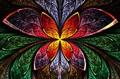 Multicolored symmetrical fractal pattern as flower and butterfly