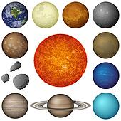 Solar System planets and moon, set
