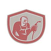 Metallic Welder Worker Holding Welding Torch Shield Retro