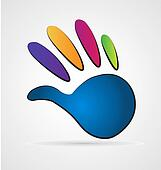 Logo hand in vivid colors