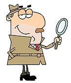 Caucasian Cartoon Detective Man