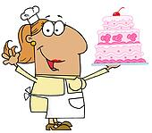 Tan Cartoon Cake Baker Woman
