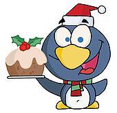 Penguin Holding Christmas Pudding