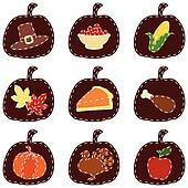 Set of quilted Thanksgiving icons