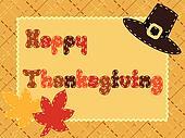 Thanksgiving card with pilgrim hat