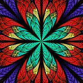 Symmetrical pattern in stained-glass window style. Blue and red