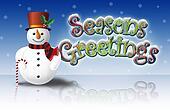 Snowman Seasons Greetings on Ice