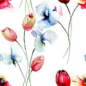 Seamless pattern with Tulips, Poppy and Sweet pea flowers