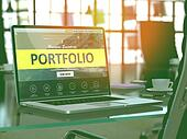 Laptop Screen with Portfolio Concept.