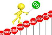 STOP Signs GO Sign progress 3D man cartoon