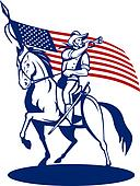 American cavalry riding horse blowing a bugle and stars and stripes flag in background