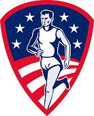 American Marathon athlete sports runner with stars and stripes and set in shield done in retro style.