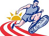 Marathon runner on track with sunburst