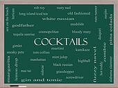 Cocktails Word Cloud Concept on a Blackboard