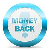 money back blue glossy icon