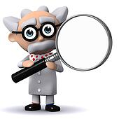3d Mad scientist holds a magnifying glass