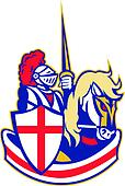 English Knight Rider Horse England Shield Retro