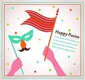 happy Purim card with people hands