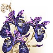 Fashion hand drawn flowers in purple color