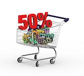 3d 50 percent in shopping cart trolley