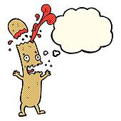 cartoon undercooked sausage with thought bubble