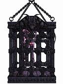 Zombie in a cage - Halloween Figure