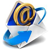 Golden symbol of e-mail comes out of the mail envelope