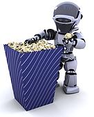 robot with a box of popcorn