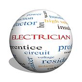 Electrician 3D sphere Word Cloud Concept