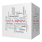 Data Mining 3D cube Word Cloud Concept