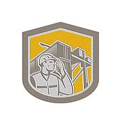 Metallic Dock Worker on Phone Container Yard Shield