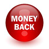 money back red computer icon on white background