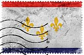 Flag of New Orleans, Louisiana, old postage stamp